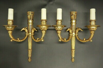 Pair Sconces, Eagles, Louis Xvi Style - Petitot France - Bronze - French Antique