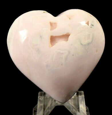48mm 378ct Pink Mangano Calcite w/ Gemstone Druzy Crystal Mineral Heart - Peru