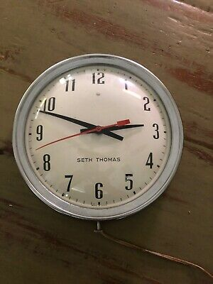 """Seth Thomas 9 3/4"""" Manager Electric Wall Clock Chrome. Industrial SS18-C USA"""