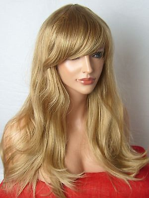 Dark Blonde Mix Fashion Long Wavy curly party costume Ladies Full Adult Wigs C8