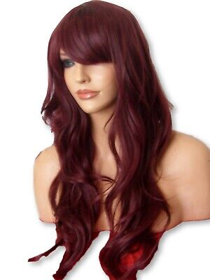 Plum Red Fashion Party Long Wavy Curly Full party costume womens adult wig D16