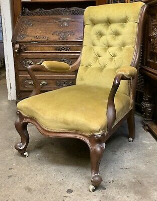 Victorian Mahogany Frame Mustard Yellow Armchair / Fireside Chair Button Back