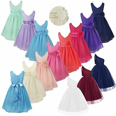 Floral Lace Wedding Bridesmaid Flower Girl Dress Girls Party Pageant Prom Dress