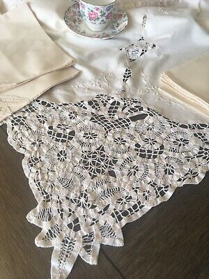 Vintage Brussels Tape Lace Cotton Tablecloth With Napkins 94x62