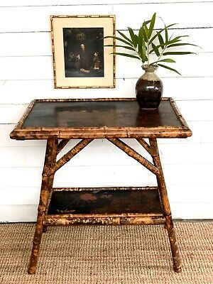 19th Century Bamboo And Chinoiserie Laquer Panel Table