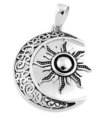 925 solid Sterling Silver Celtic knot Tree of Life with Sun and Moon pendant