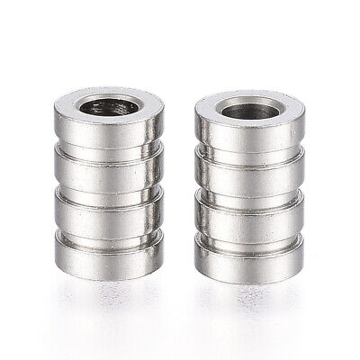 10pcs Stainless Steel Grooved Tube Beads Metal Column Spacer Loose Beads 9x6mm