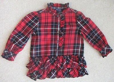 RALPH LAUREN 18 Months Girl's Red Black Tartan Plaid Shirt Dress Flannel Ruffle