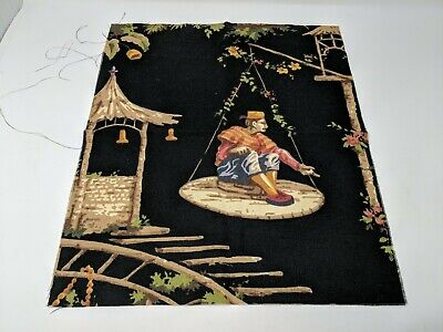 Middle Eastern Asian Oriental Garden Man Painted Fabric Cloth Art Remnant VTG