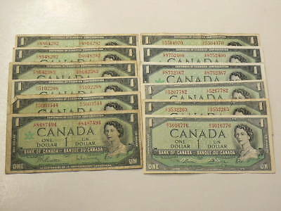 🍁 1937 to 1973 Canada $1 Dollar Lot of 56 Notes Some Consec  #1415