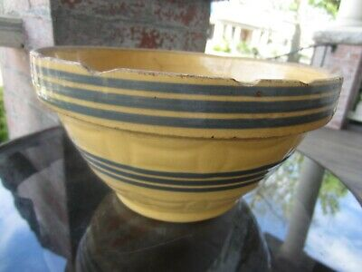 "Antique Primitive Farm Rustic STONEWARE Yellow ware Blue Banded 8"" Mixing Bowl"