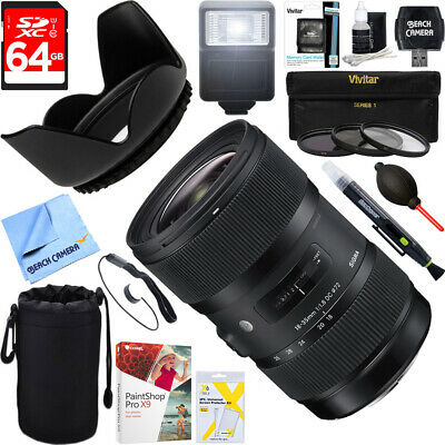 Sigma AF 18-35mm f/1.8 DC HSM ART Lens for Nikon SLR + 64GB Ultimate Kit