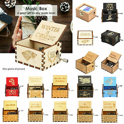 Retro Wooden Music Box Hand Cranked Musical Case Home/Shop Crafts Decor Kids D1B
