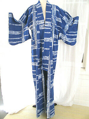 Cotton Kimono Women's Blue & White Yukata Robe Dressing Gown Bathrobe