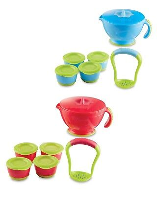Nuby Steam n' Mash & 4 Freezer Pots, Blue and Green Colour, 4m+, First Solids