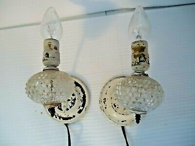 Vintage Antique Pair of Wall Sconce Light Fixtures Hobnail Clear