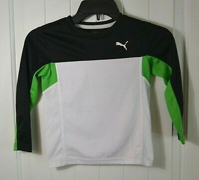 Nwt Boys Puma Sport Green White Black Long Sleeve Crew Neck T Shirt Sz 3T 4T