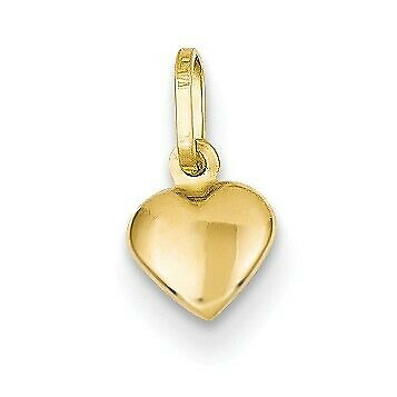 14k Solid Yellow Gold Small and Cute Hollow Puffed 3D Heart Charm (7mm)