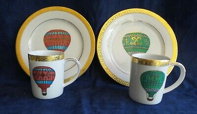 Gold Buffet Royal Gallery 2-Hot Air Balloon Plates & Cups 1991