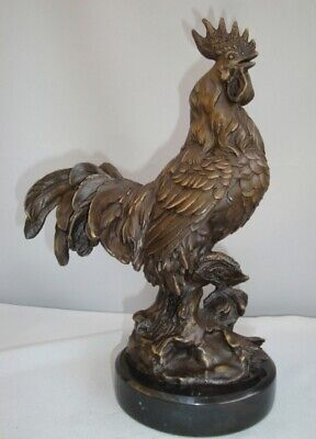 Statue Sculpture Cock Bird Wildlife French Style Solid bronze Signed