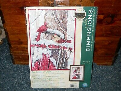 Dimensions Counted Cross Stitch Kit ~ Cardinals On Sled ~  NIP
