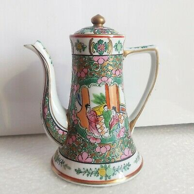 ANTIQUE CHINESE Famille Rose Medallion Hand Painted Tea Coffee Pot LOT1