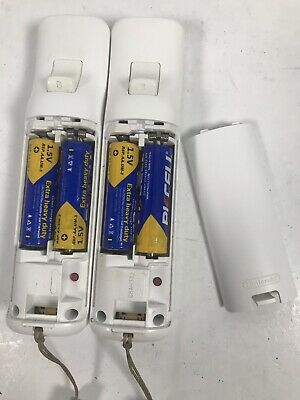 2X OEM Nintendo Wii Controller White - Genuine Official Remote Authentic w Batt.