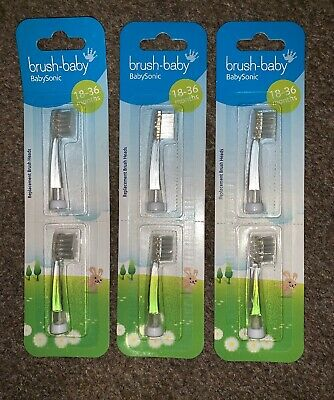 6 x Brush Baby Baby Sonic Toothbrush Heads age 18-36 Months replacement - 3 Pack
