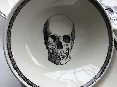 The Victorian English Pottery Skull Large Soup Cereal Pasta Bowls Set Of FOUR