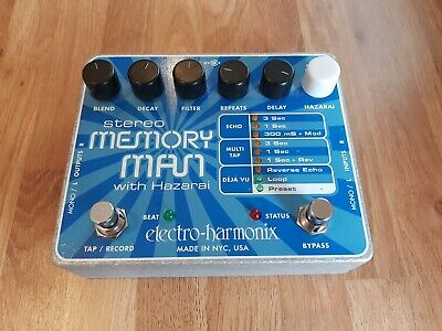 Electro Harmonix - Stereo Memory Man With Hazarai Guitar Delay Effects Pedal EHX
