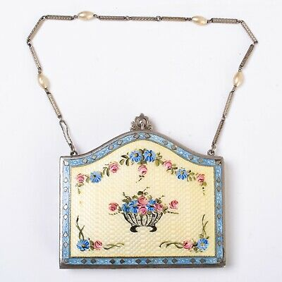 1920s Enamel Guilloche Compact Dance Purse Necessaire Blue & Yellow Flowers