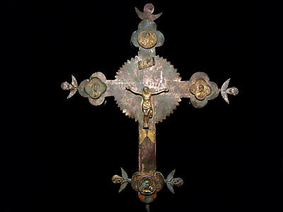Huge, Unique Medieval Orthodox Reliquary, Processional Silver Cross Crucifix+++
