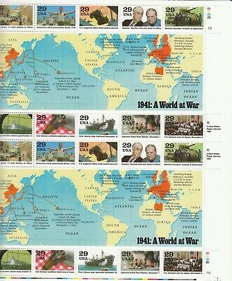 Stamp US Sc 2559 Sheet 1991 1941 WWII China Roosevelt Churchill Pearl Harbor MNH
