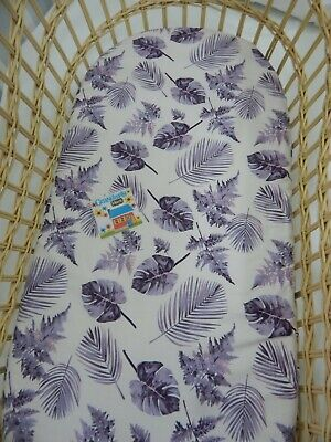 Bassinet Fitted Sheet Fern Palm Leaves Aubergine Cotton FITS STANDARD BASSINET