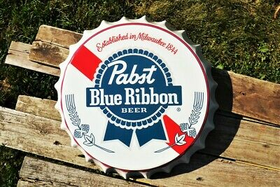 Pabst Blue Ribbon Beer Bottle Cap Tin Sign - Lager - Pabst Brewing Company - PBR