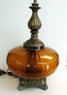 Vintage Amber Glass Table Lamp Large Night Light Hollywood