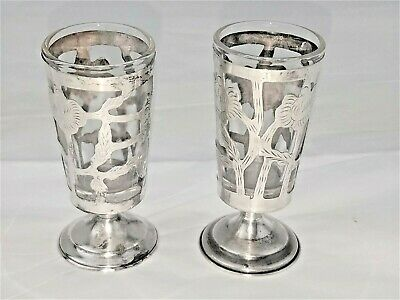 "Mexican Sterling Silver  Overlay Pair Footed Shot Glass Cordials  Julep  2 3/4""h"