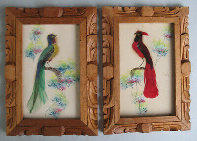 1950s Vintage Lot Two Framed Mexican Feathercraft Folk Art Painted Birds