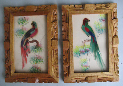 Mexican Feathercraft Folk Art Painted Birds 1950s Vintage Lot of Two Framed