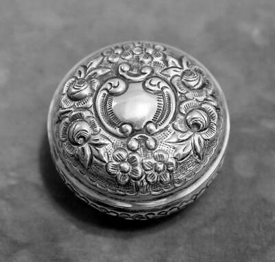 Nice Antique Floral Repousse Sterling Silver Trinket Box