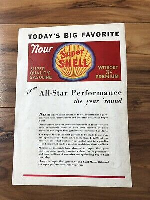 "Vintage Shell Motor Oil Ad Super Shell Gasoline 1930s 9.5"" X 6.5"""