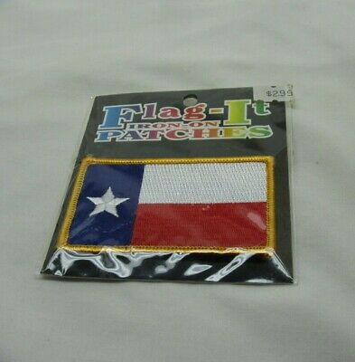 Texas State Flag Patch Embroidery Iron On LONE STAR  Gold Border Flag It
