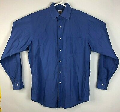 Mens 15 4 Brooks Brothers Button Front Dress Shirt Long Sleeve Blue Solid Cotton