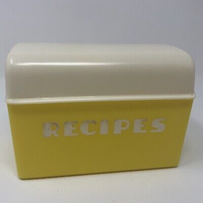 Vintage 1950s Lustro Ware Yellow and White Plastic Recipe Box - Made in the USA