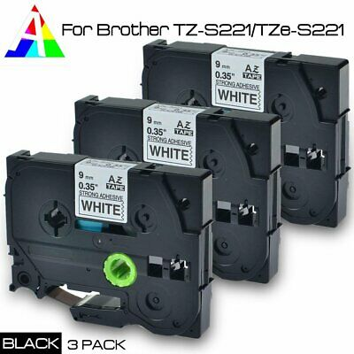 3x Label Tape for Brother TZe-S221 Extra Strength P-touch TZeS221 TZS-221 TZS221