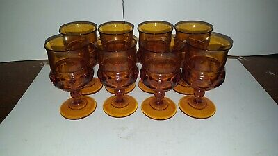 8 Vintage Indiana Glass Amber Kings Crown Thumbprint Juice Wine Goblet 5 3/4 ""
