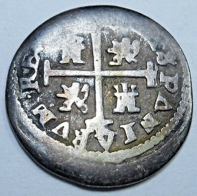 1600's Spanish Silver 1/2 Reales Piece of 8 Real Colonial Pirate Treasure Coin