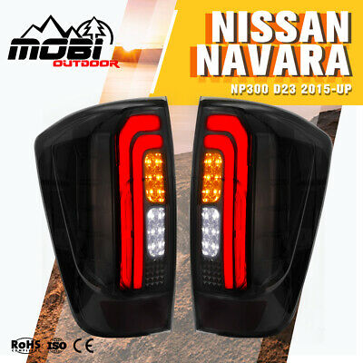 2X LED Tail Lights For NISSAN NAVARA NP300 D23 2015-UP Smoked Black Rear Lamp