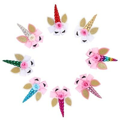 Cartoon Unicorn Horn Hair Bows Glitter Flower Hair Clips Child Hair Accessories#