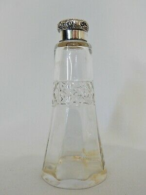 Antique Art Nouveau 1914 Sterling Silver Cut Glass Perfume Bottle Jar Vase